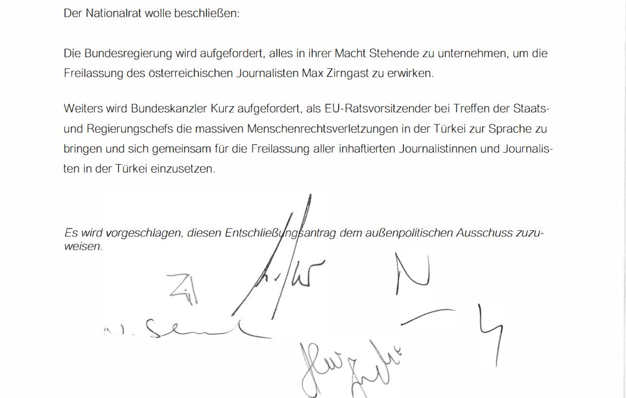 Entschließungsantrag an den österreichischen Nationalrat