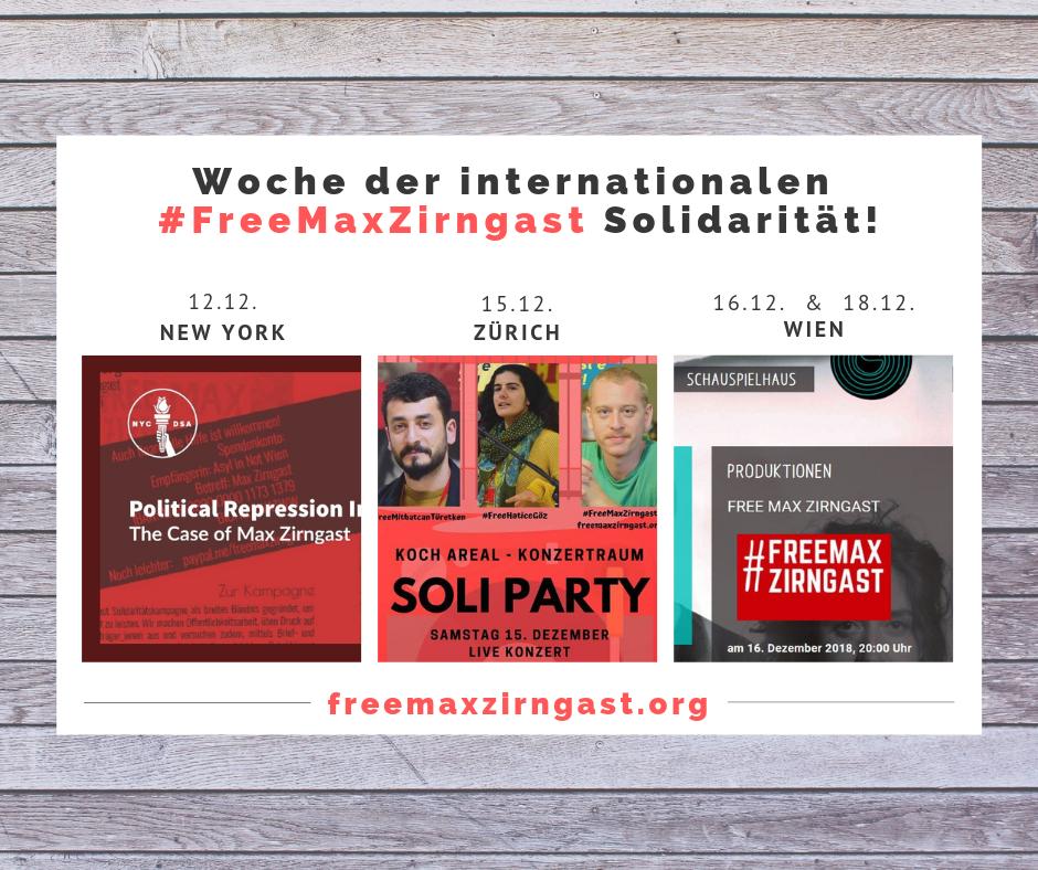 Woche der internationalen #FreeMaxZirngast-Solidarität!